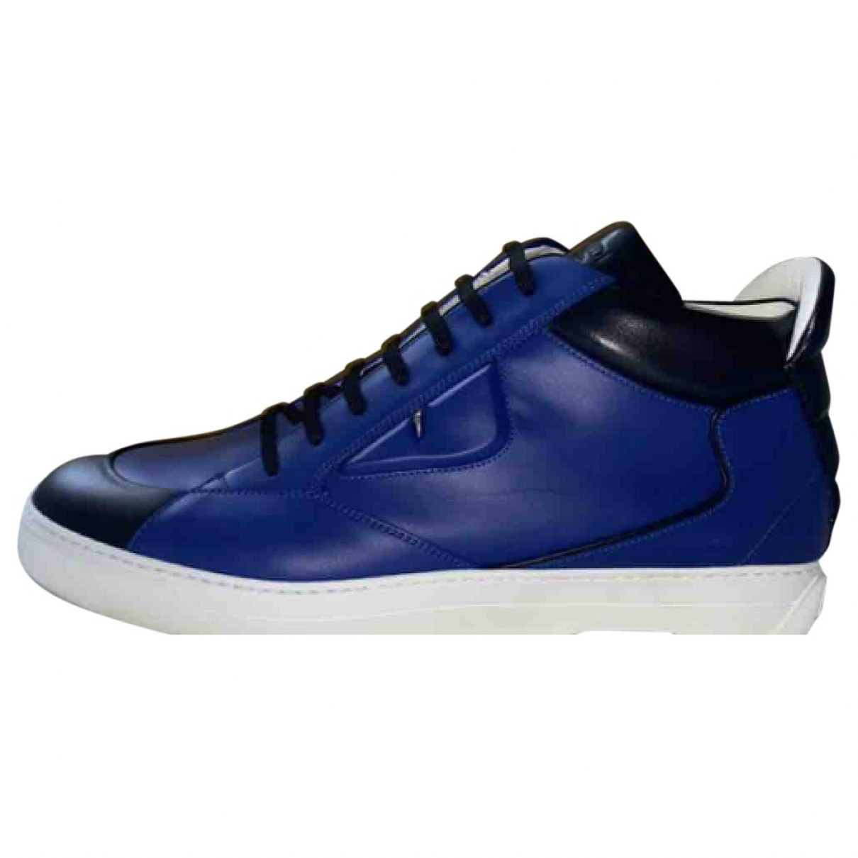 Fendi \N Navy Leather Trainers for Men 44 EU