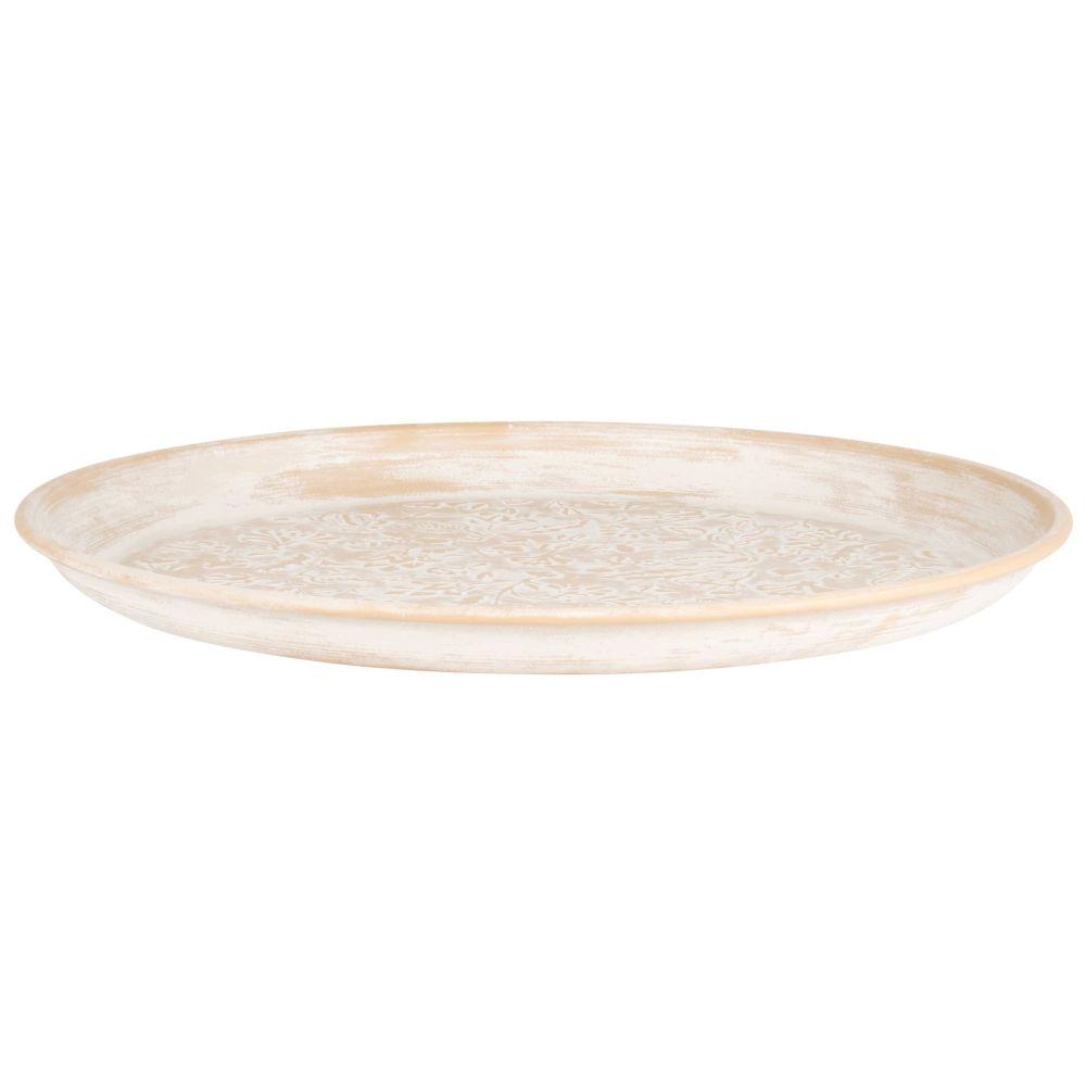Tablett aus cremefarbenem Metall mit weissen Reliefmotiven D41