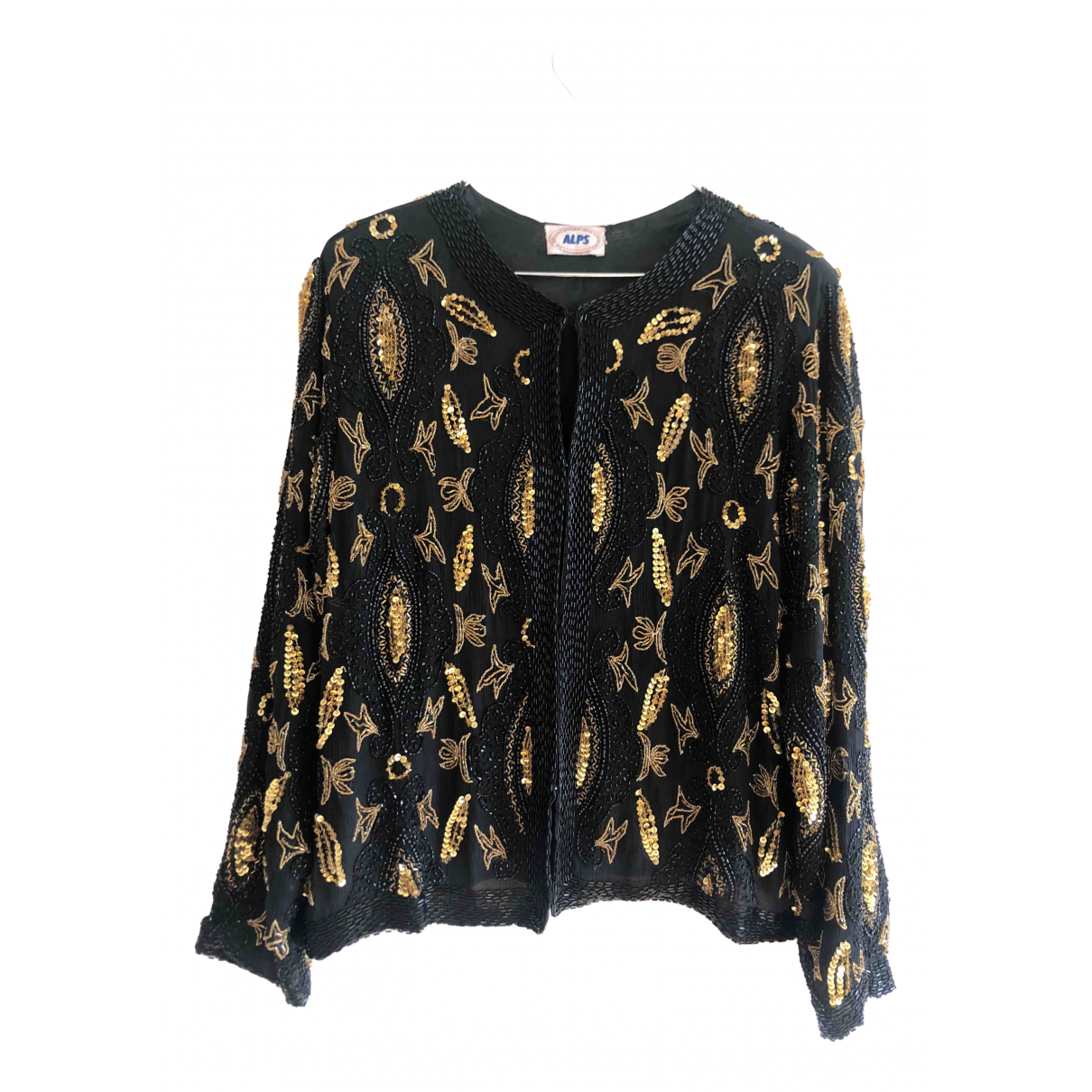 Non Signé / Unsigned Epaulettes Black Silk Knitwear for Women 40 FR