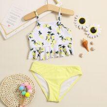 Bikini Badeanzug mit Zitrone Muster und Rueschenbesatz