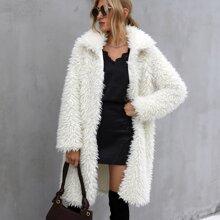Mantel mit offener Vorderseite und Kunstpelz