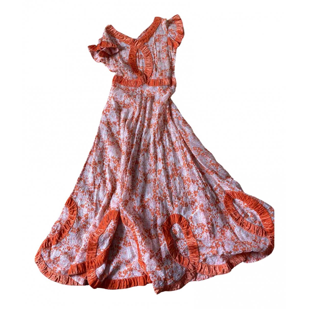 Non Signe / Unsigned \N Kleid in  Orange Samt