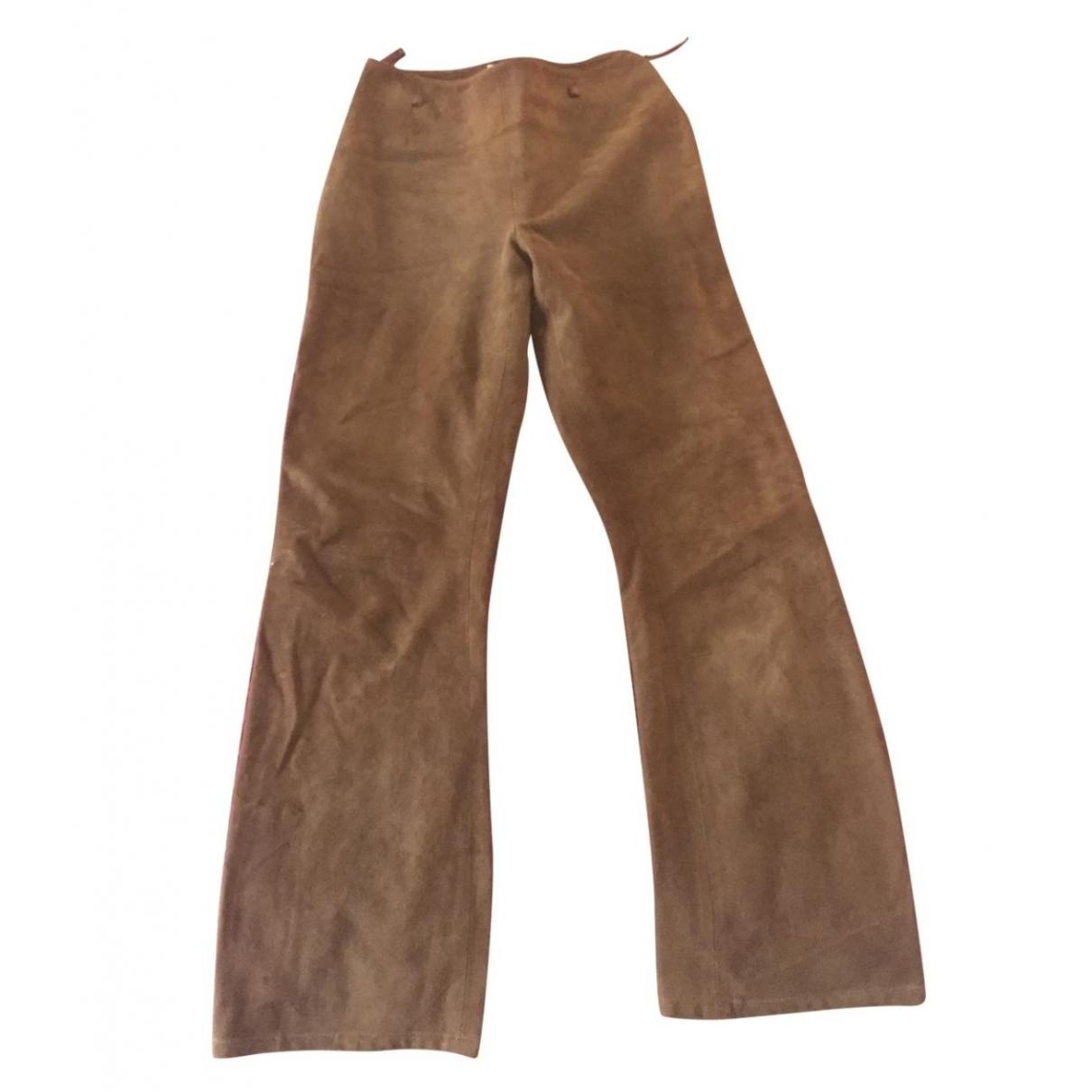 Celine \N Brown Suede Trousers for Women 36 FR