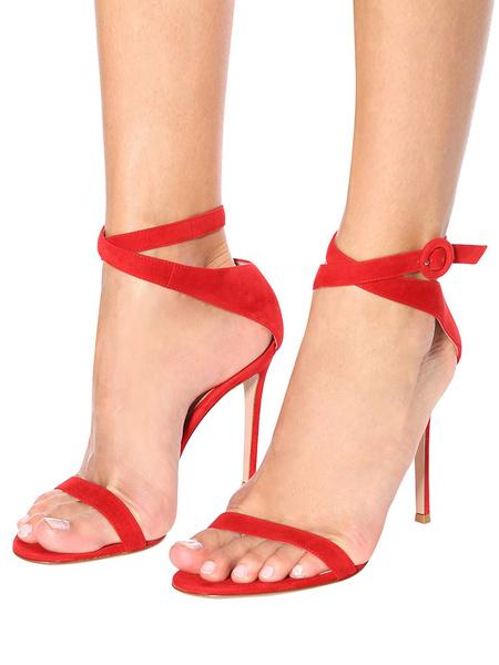 Milanoo Sandalias de tacon alto Sandalias de gamuza roja Zapatos con punta abierta Correa de tobillo Sandalias Zapatos de vestir para mujeres