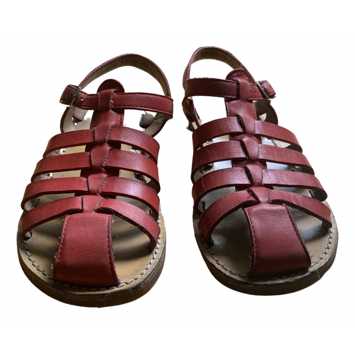 Pom Dapi - Sandales   pour enfant en cuir - rouge