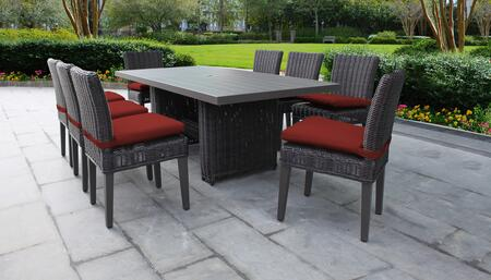 Venice Collection VENICE-DTREC-KIT-8C-TERRACOTTA Patio Dining Set With 1 Table  8 Side Chairs - Wheat and Terracotta