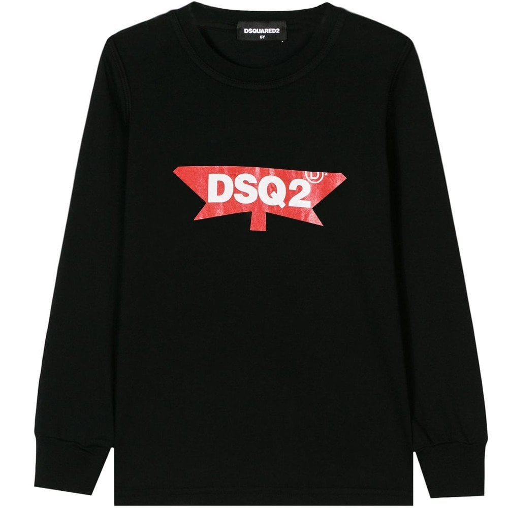 Dsquared2 Kids 'DSQ2' Long Sleeve T-Shirt Black Colour: BLACK, Size: 10 YEARS