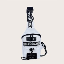 Letter Graphic Sling Bag With Drawstring