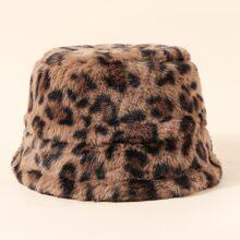 Sombrero cubo mullido de niñitos con patron de leopardo