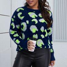 Strick Pullover mit sehr tief angesetzter Schulterpartie und Leopard Muster