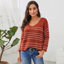 V-neck Drop Shoulder Striped Sweater