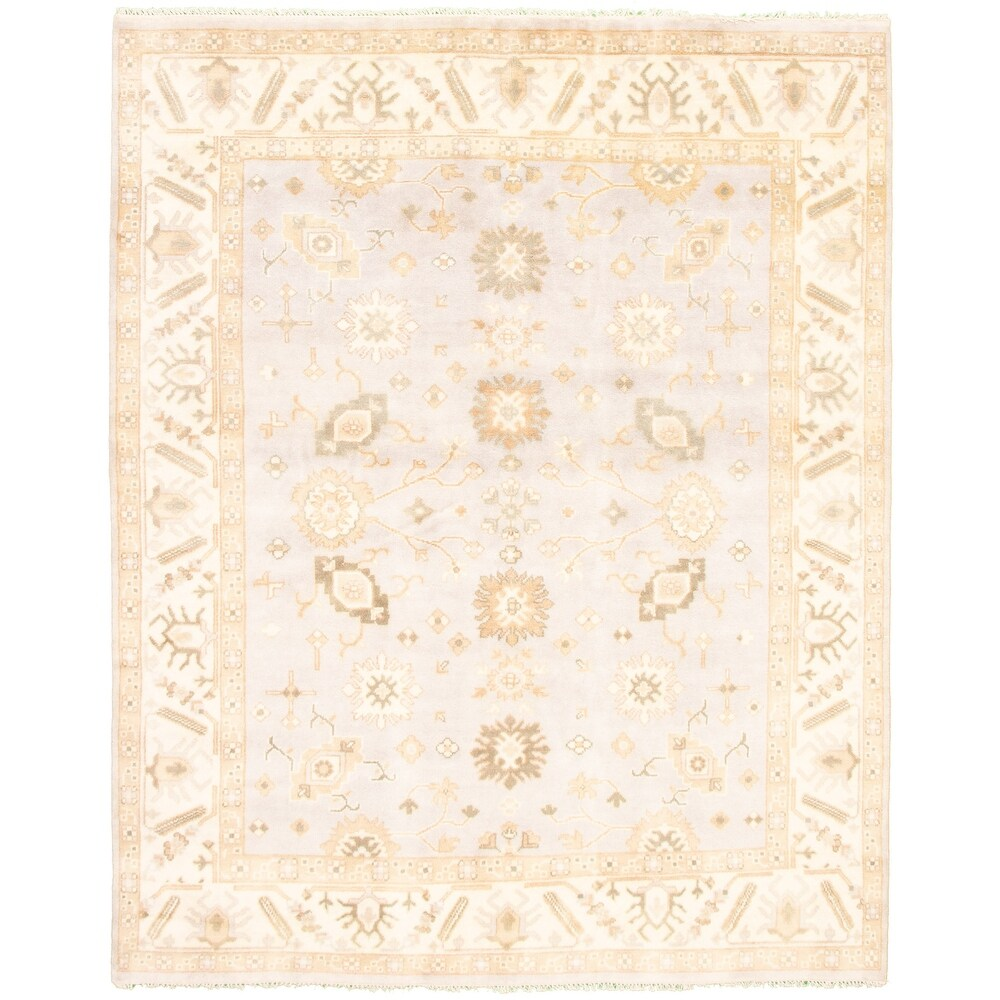 ECARPETGALLERY  Hand-knotted Royal Ushak Grey Wool Rug - 8'0 x 9'11 (Light Grey - 8'0 x 9'11)