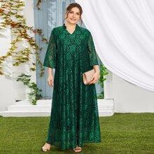Kleid mit Blumen Muster und eingekerbtem Kragen