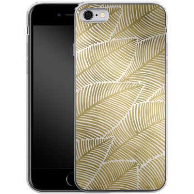 Apple iPhone 6s Silikon Handyhuelle - Tropical Leaves Gold von Cat Coquillette