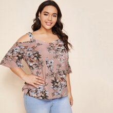 Plus Floral Print Cold Shoulder Blouse
