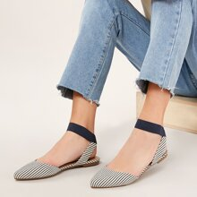 Elastic Ankle Strap Stripe Pointed Toe Flats