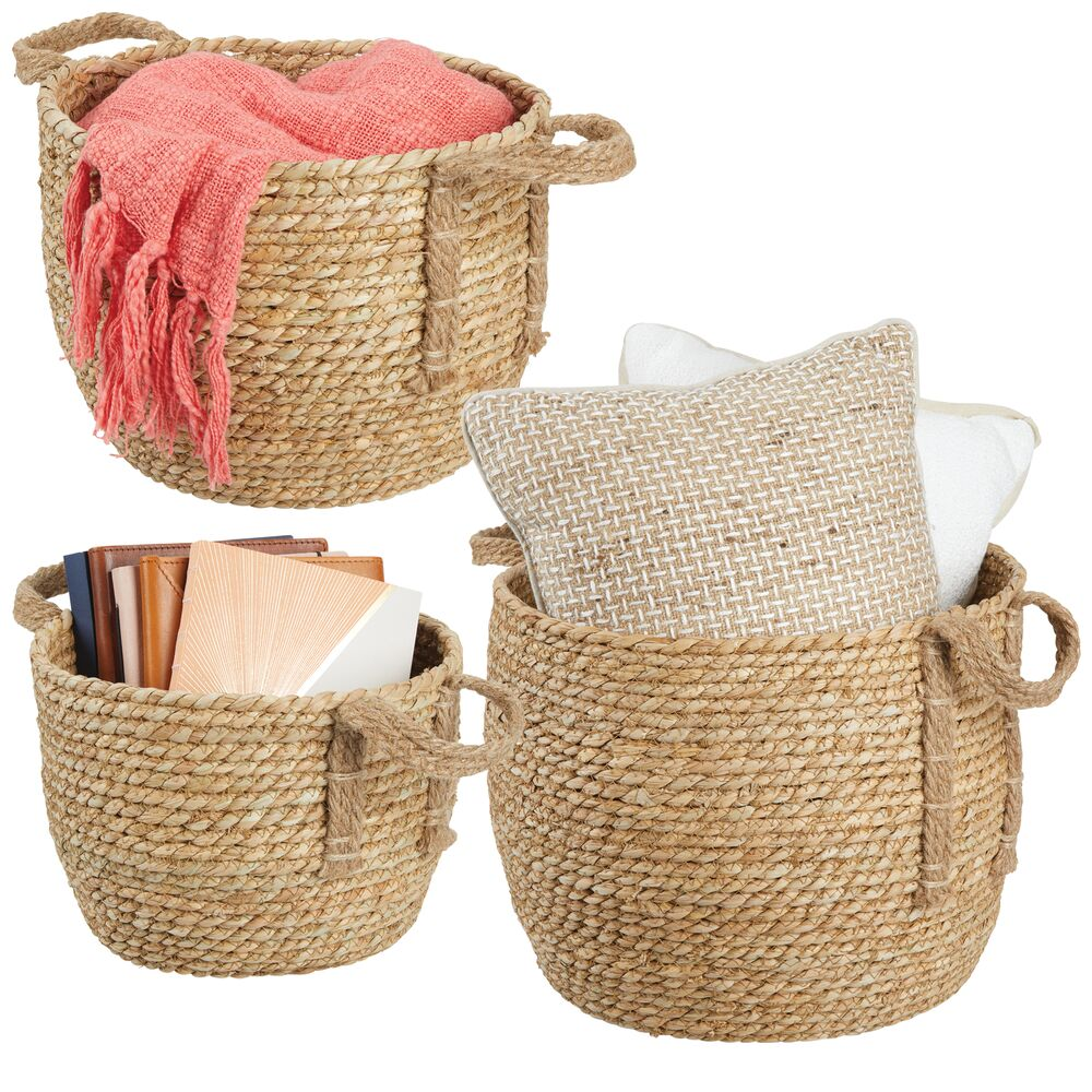Woven Seagrass Storage Round Baskets - Pack of in Natural, by mDesign