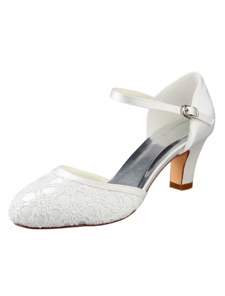 Milanoo Ivory Wedding Shoes Vintage Round Toe Lace Buckle Detail Bridal Shoes