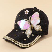 Rhinestone Butterfly Decor Baseball Cap