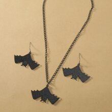 Halloween Halskette & Ohrringe mit Fledermaus Dekor