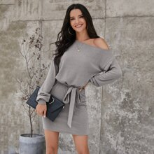 Asymmetrical Neck Self Tie Fitted Dress