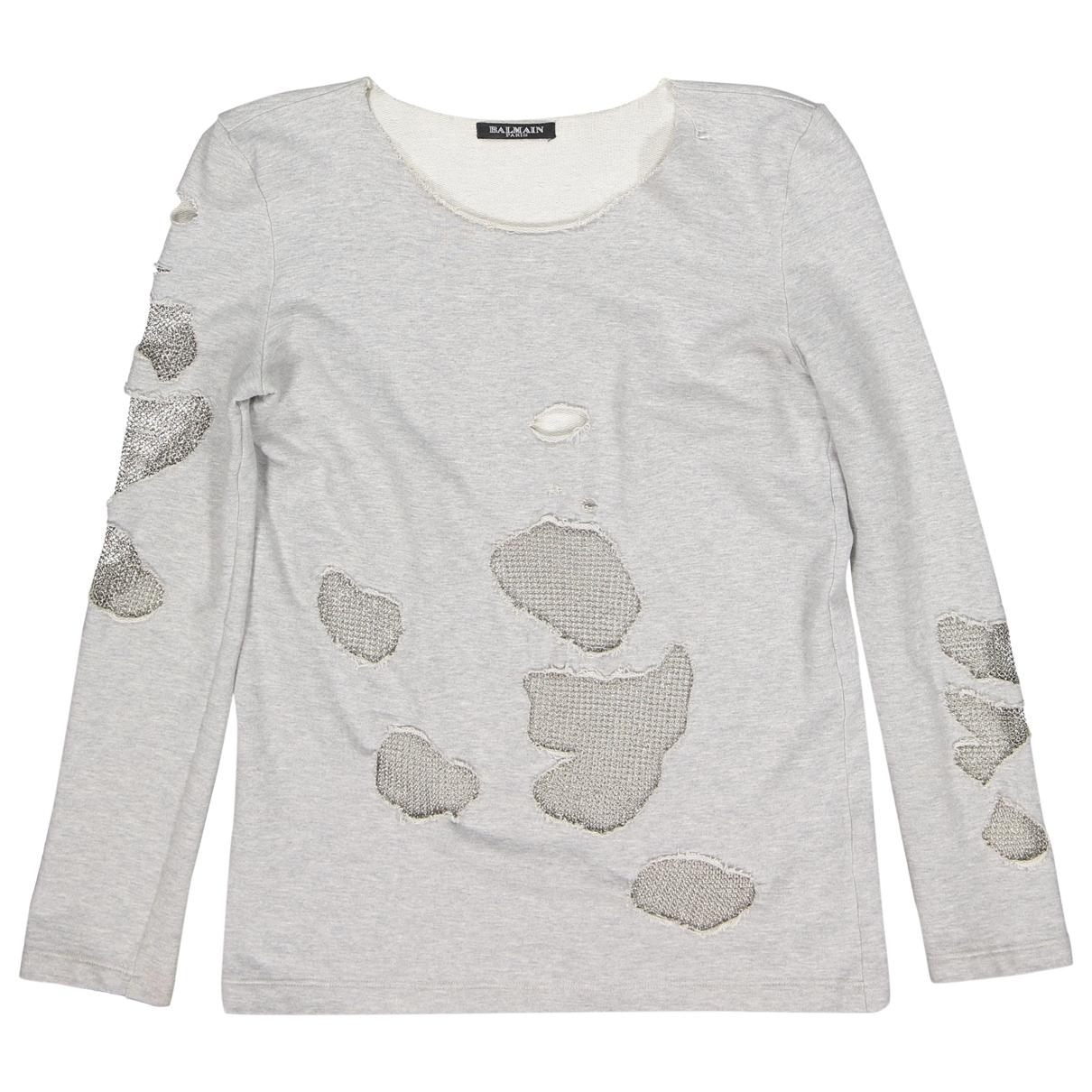 Balmain - Pull   pour femme en coton - gris