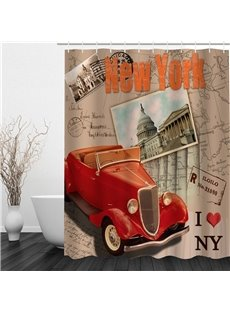 Red Car and Architectures in New York 3D Polyester Waterproof Eco-friendly Shower Curtain