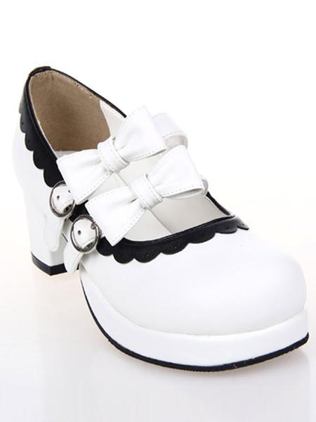 Milanoo Zapatos Lolita Dulce Tacon Cuadrado Lazos Trim