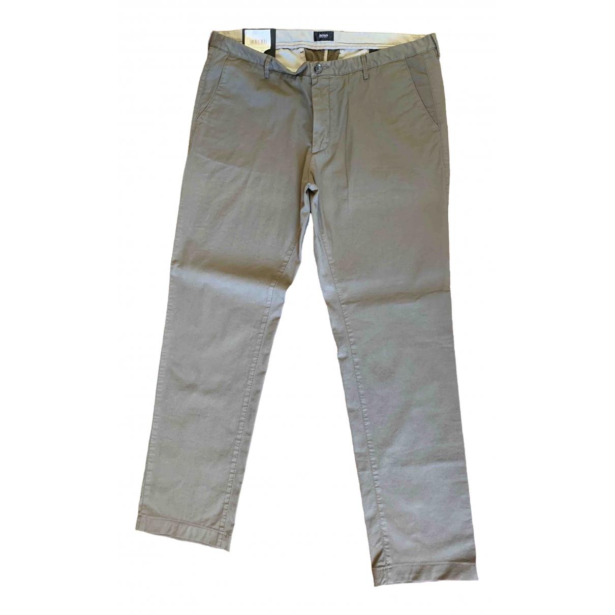 Boss - Pantalon   pour homme en coton - beige