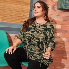 Plus Lace-up Neck Drop Shoulder Camo Oversized Longline Tee