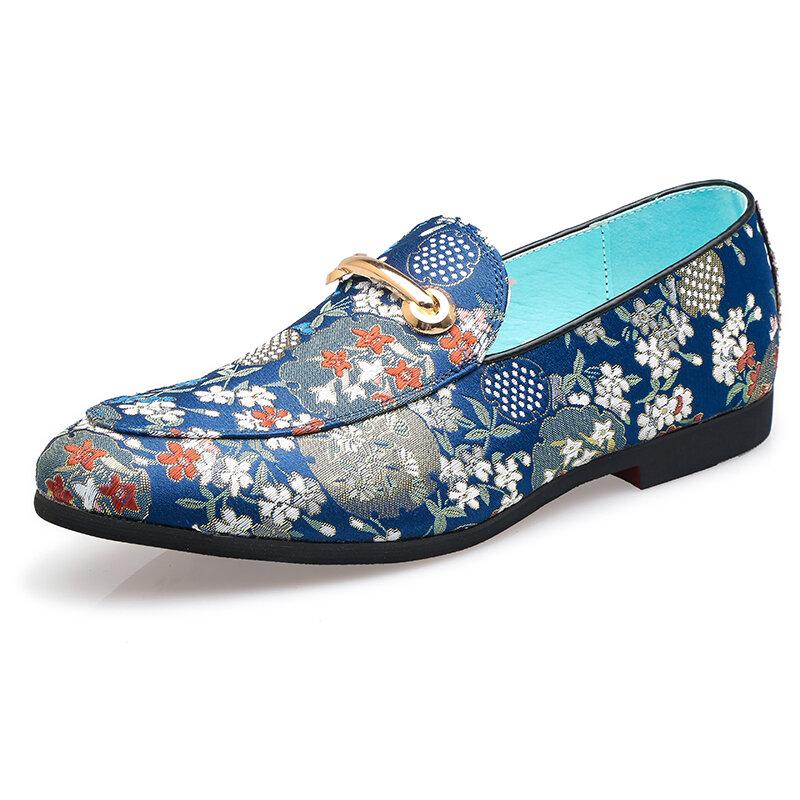 Men Flowers Printing Comfy Slip Resistant Slip On Formal Shoes