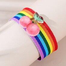 Maedchen Armband mit Kirsche Dekor und Regenbogen Streifen
