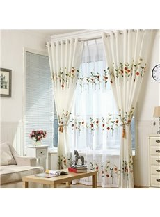 Rural Pastoral Little Ladybug Pattern Embroidered Curtains Advanced Custom Curtains