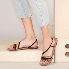 Cheetah Print Strappy Open Toe Flat Sandals