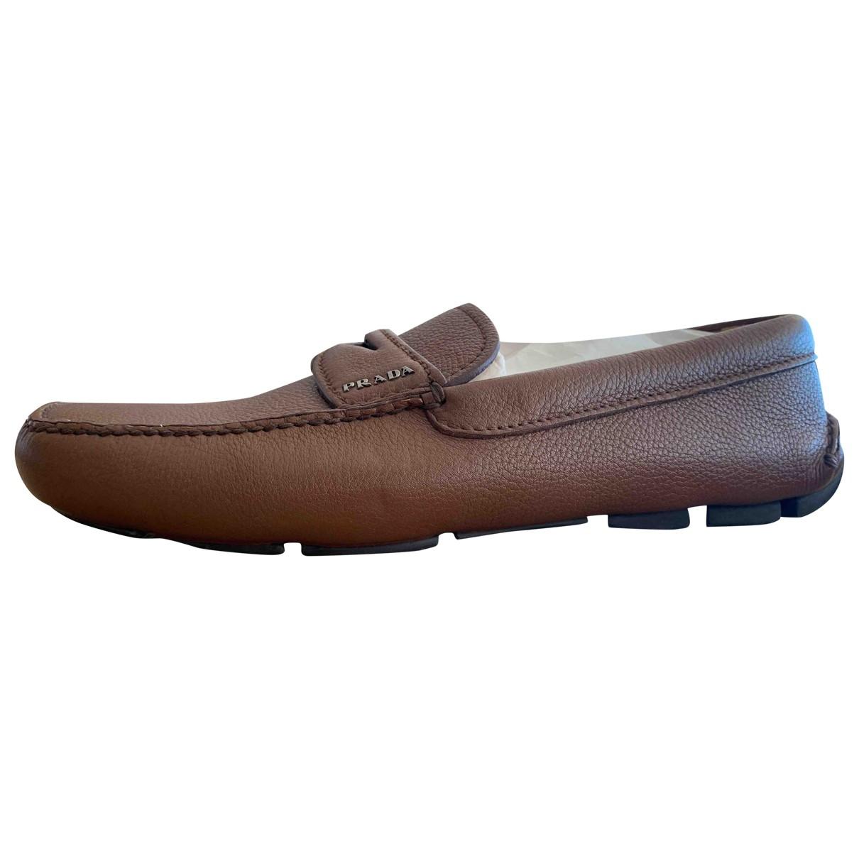 Prada \N Brown Leather Flats for Men 8 US