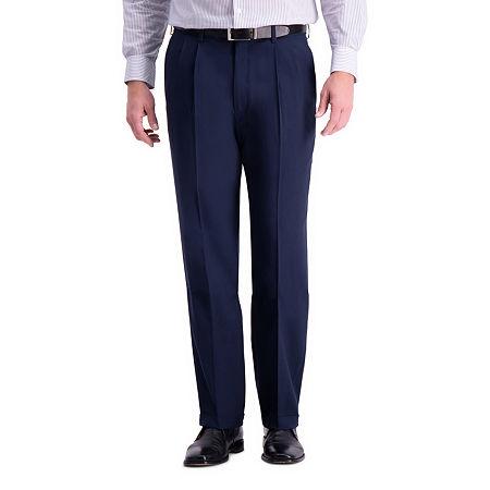 Haggar Premium Comfort Dress Pant Classic Fit Pleated, 36 32, Blue