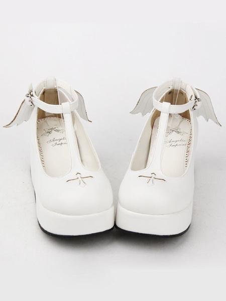Milanoo Gothic Lolita Shoes Black Platform Crux T-Strap Lolita Shoes With Evil Wing