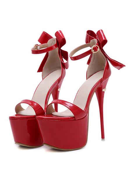 Milanoo Sandalias de tacon bajo plataforma negra punta abierta zapatos de sandalias de correa de tobillo zapatos de mujer sexy