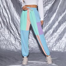 Drawstring Waist Colorblock Pants