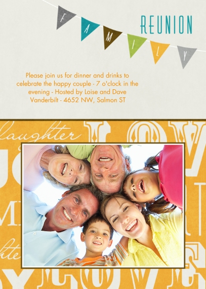 Party Invitations 5x7 Cards, Premium Cardstock 120lb with Elegant Corners, Card & Stationery -Reunion Banner