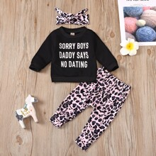 Toddler Girls Slogan Graphic Sweatshirt & Graphic Pants & Headband