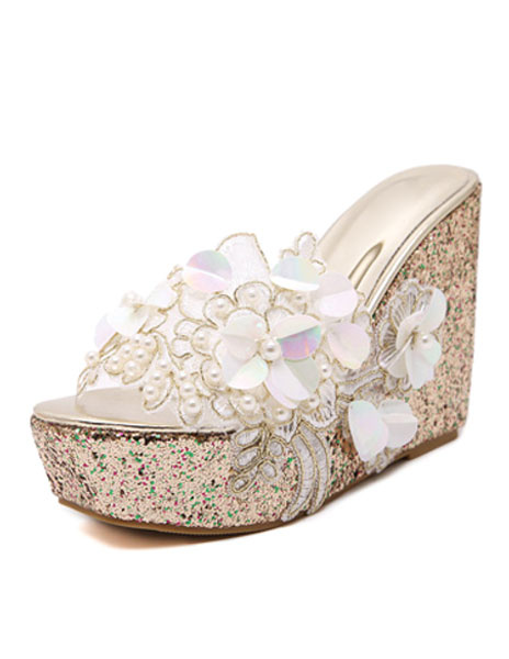 Milanoo Mules Shoes Wedge Heel Clogs Peep Toe White Pearl Flower Peep Toe PVC Clog Shoes