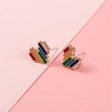 Color Block Heart Stud Earrings