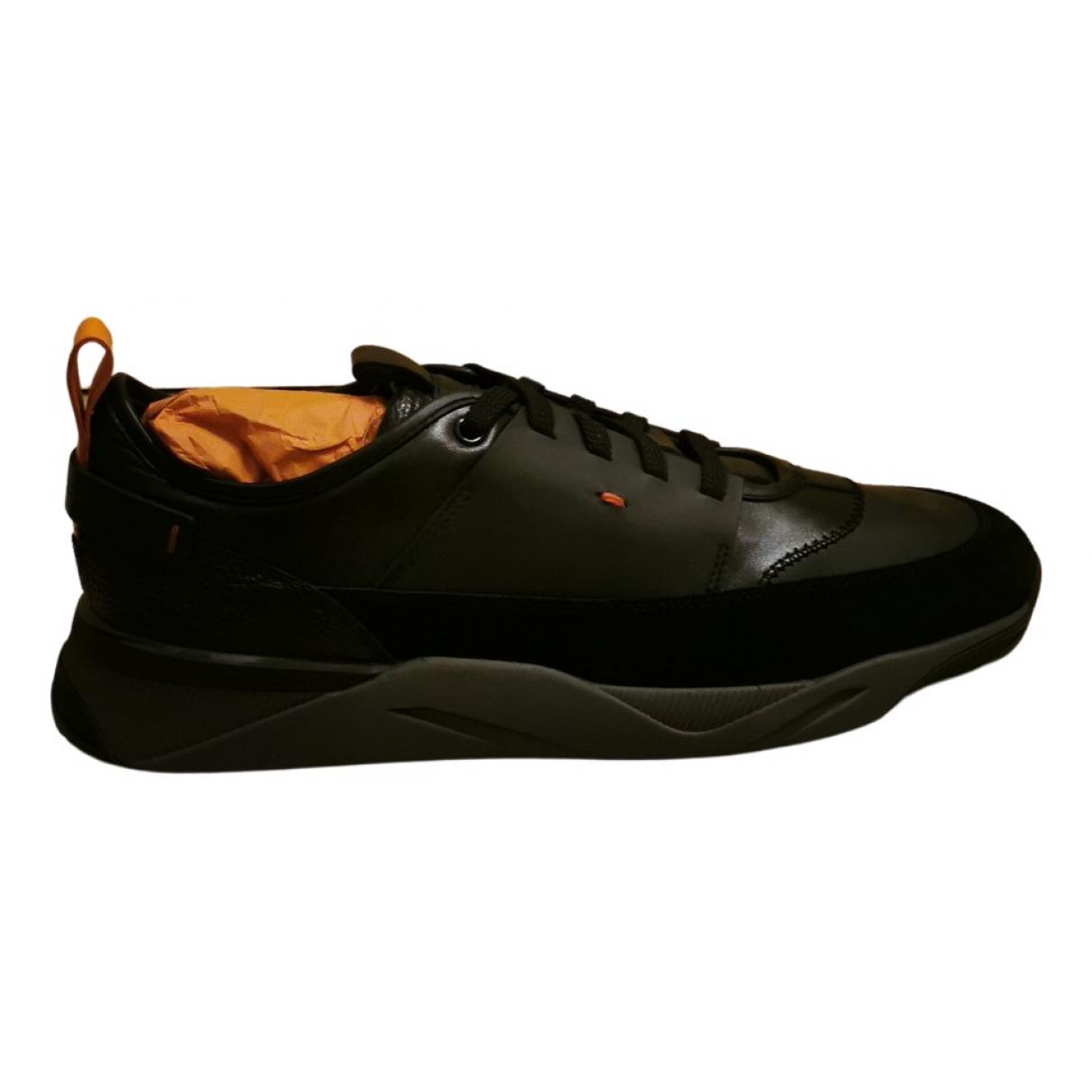 Santoni - Baskets   pour homme en cuir - noir