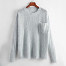 Pullover mit sehr tief angesetzter Schulterpartie und Taschen Flicken
