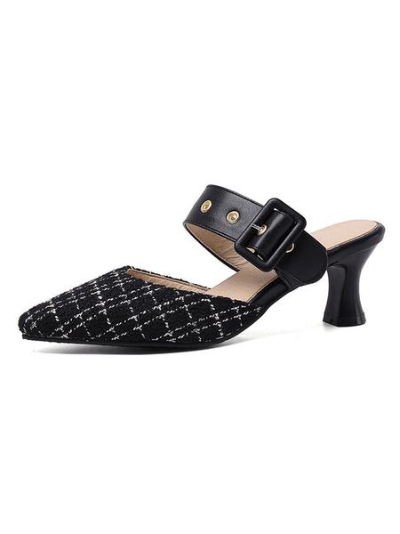 Milanoo Zapatos con punta puntiaguda y tacon de gatito para mujer