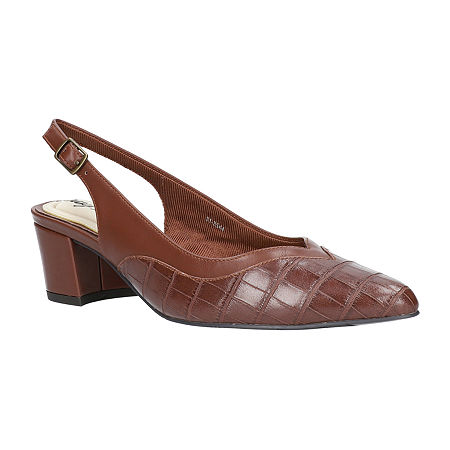 Easy Street Womens Takayla Pumps Block Heel Narrow Width, 10 Wide, Brown