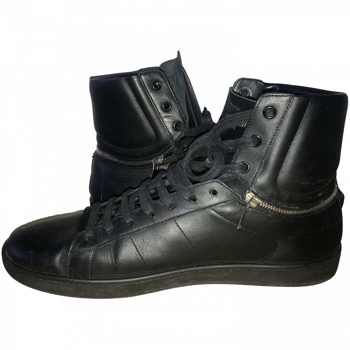 Saint Laurent \N Black Leather Trainers for Men 44 EU