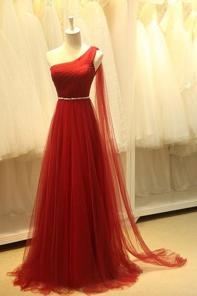BMbridal Red One Shoulder Long Prom Dress Tulle Evening Gowns With Pearls