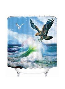 Eagle Flying against the Waves Printing Bathroom 3D Shower Curtain